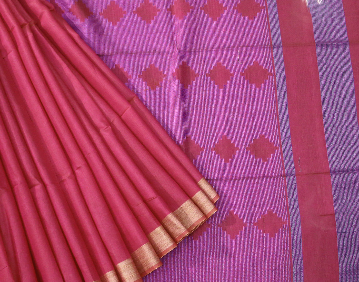 Pink Kota Jacquard Saree With Fringes