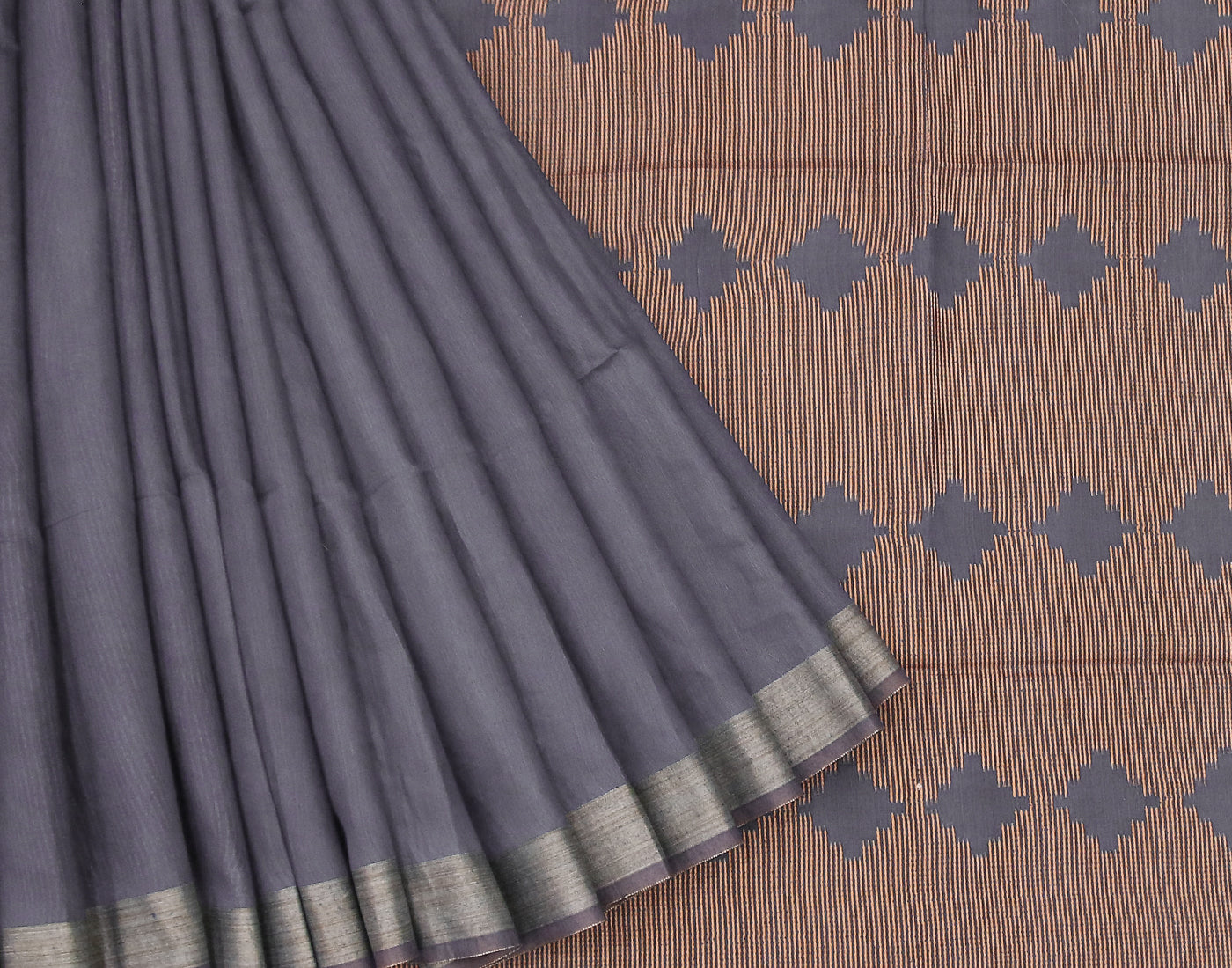 Blue Kota Jacquard Saree With Fringes