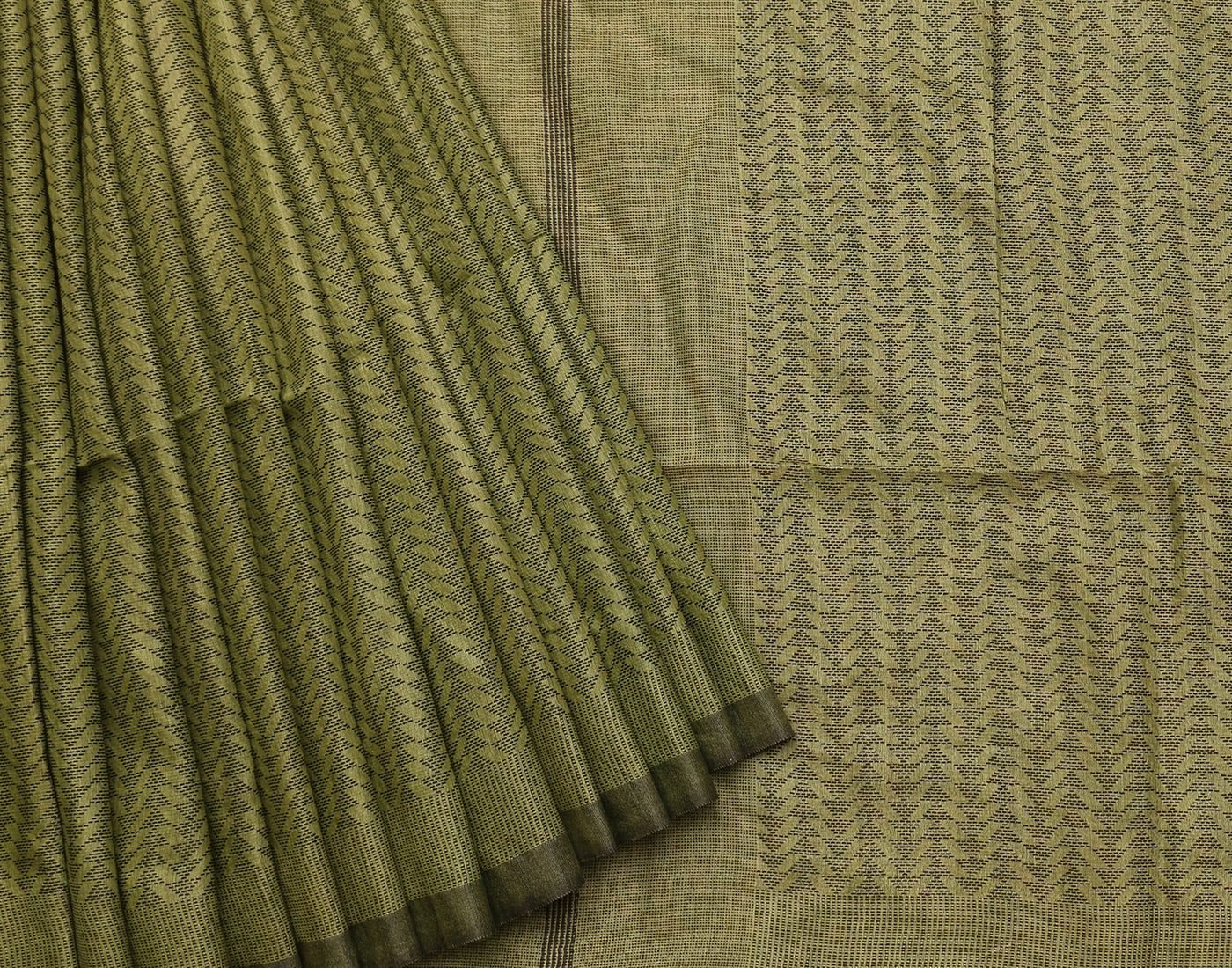 Kota Dupion patterned olive green saree
