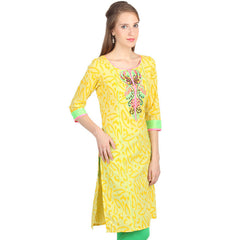 eSTYLe Golden Haze Printed Cotton Kurta With Neon Embroidered Yoke