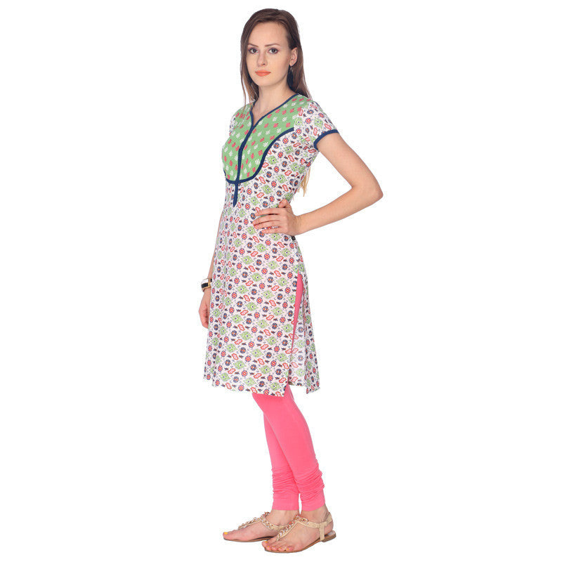 Olive Green Cluster Printed Cotton Kurta From eSTYLe