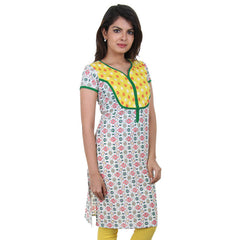 eSTYLe Yellow 'N Green Cluster Printed Cotton Kurta