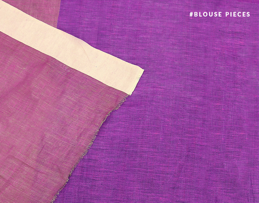 Purple 'N' Blue Handloom Linen Saree With Contrast Border