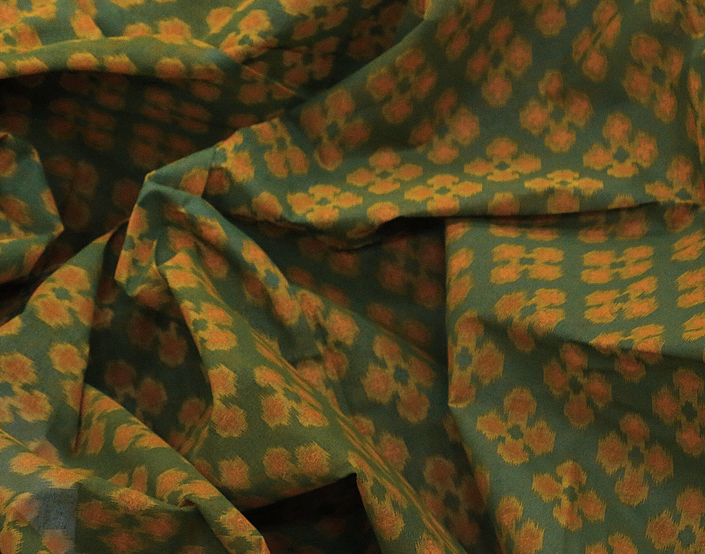 Forest Green Cotton Printed Saree