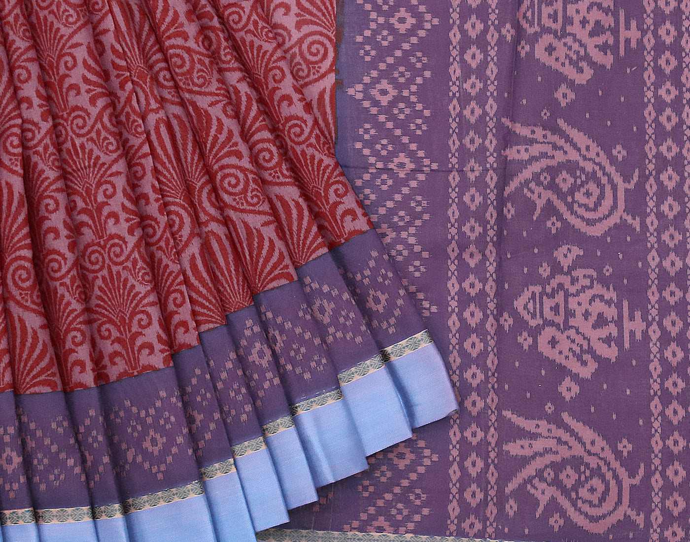 Blue 'N' Brick Red Cotton Printed Saree