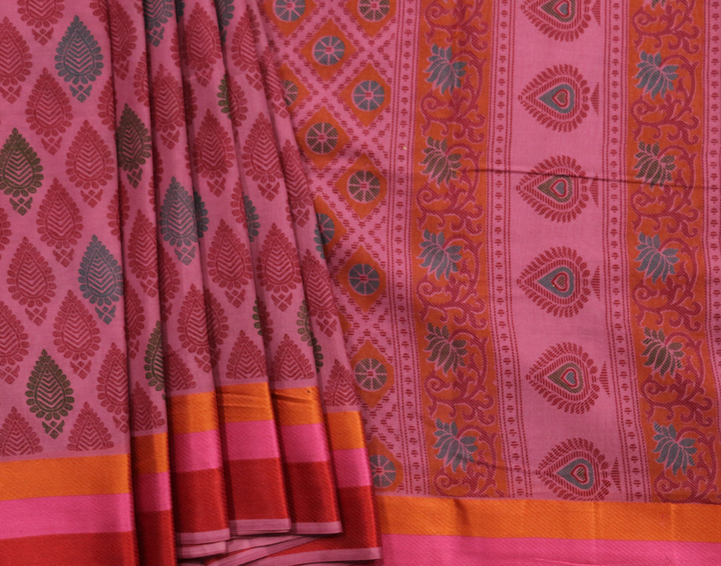 Pink colour printed art saree with attached blouse