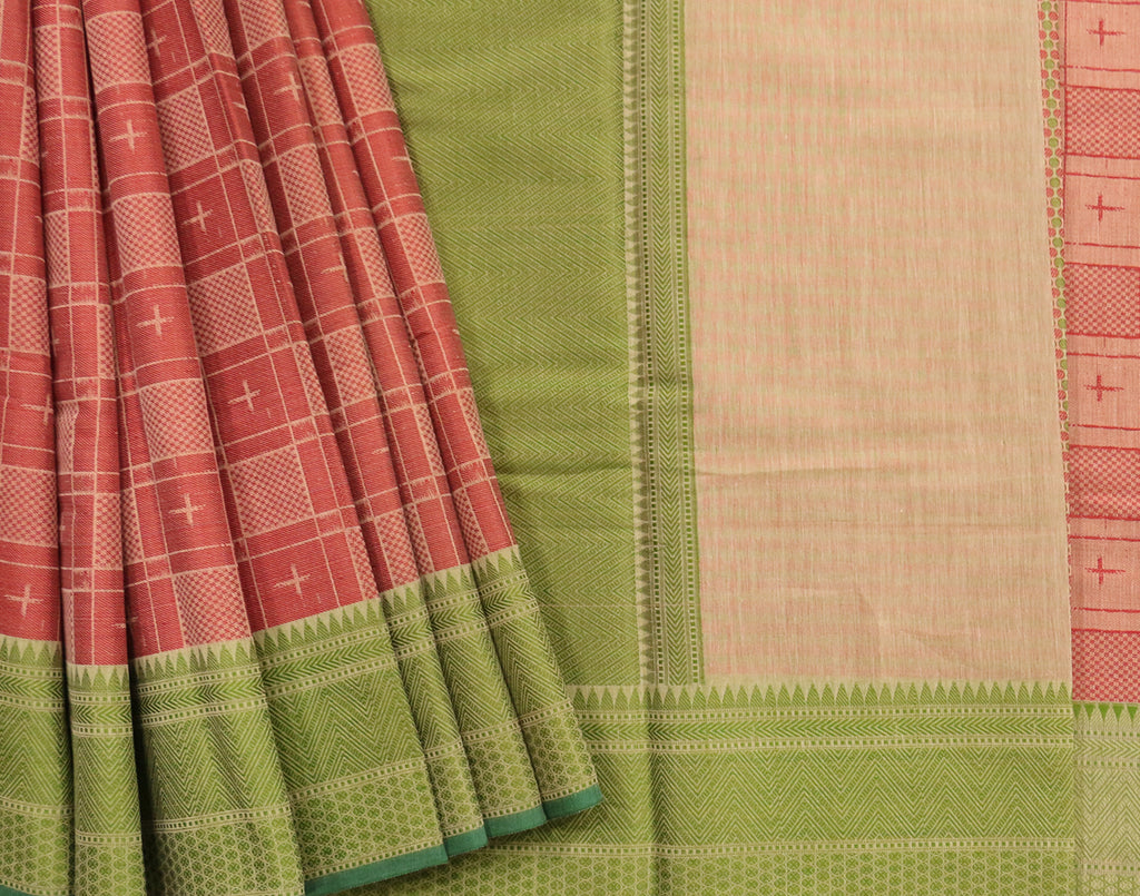 Fushion coral & leaf green colour checked saree with attached blouse