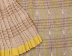 Handloom Brown 'N' Green Linen Saree With Pompoms