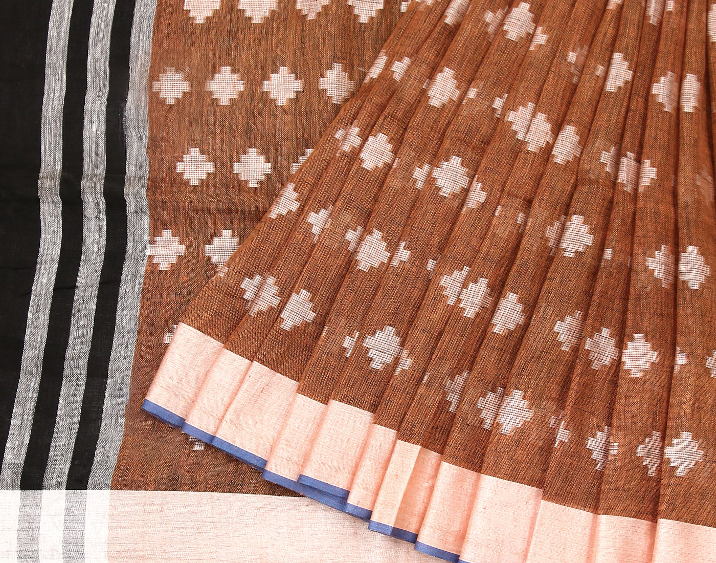Brown Jacquard Linen Handloom Saree with Pompoms