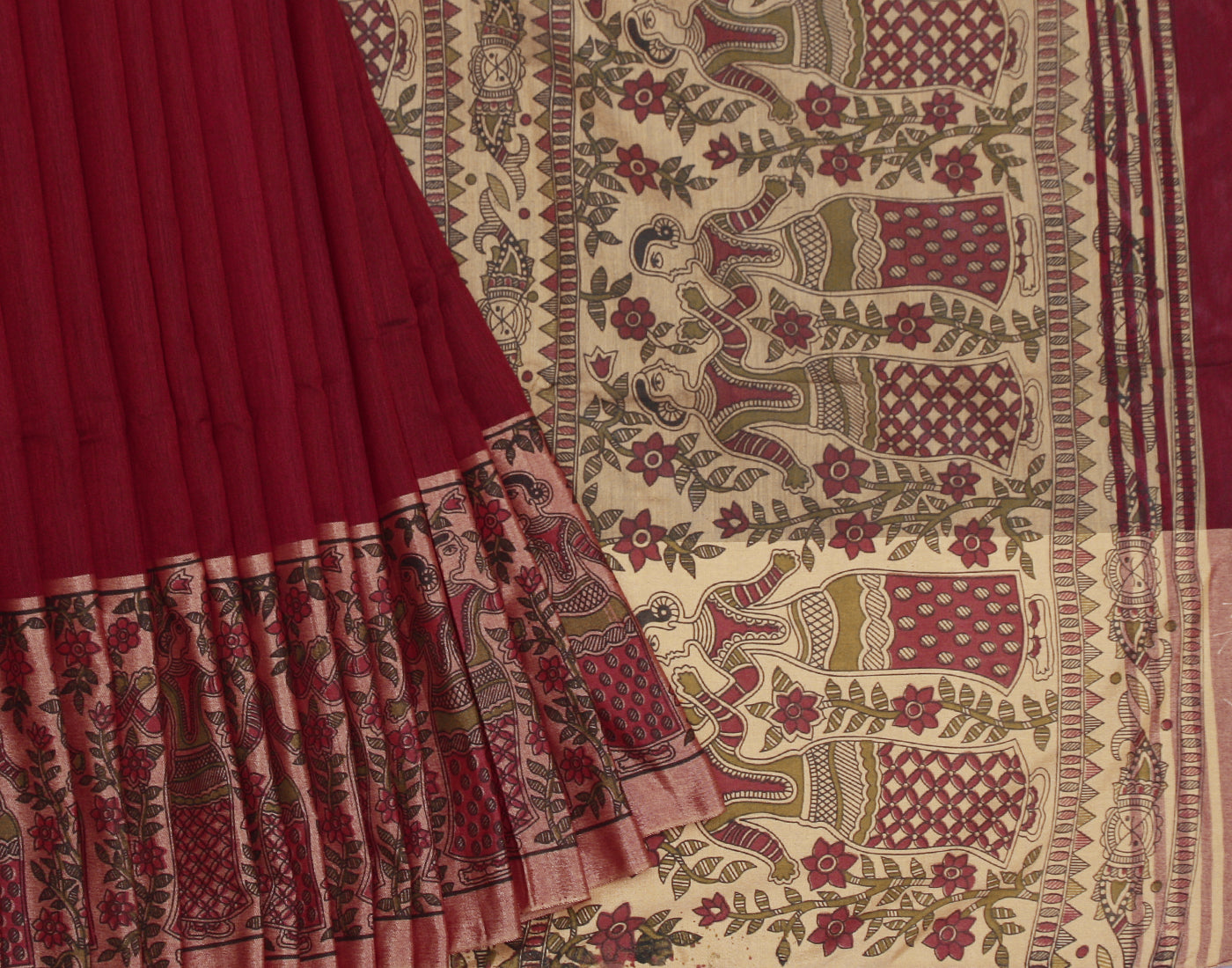 Maroon Cotton Saree With Fringes