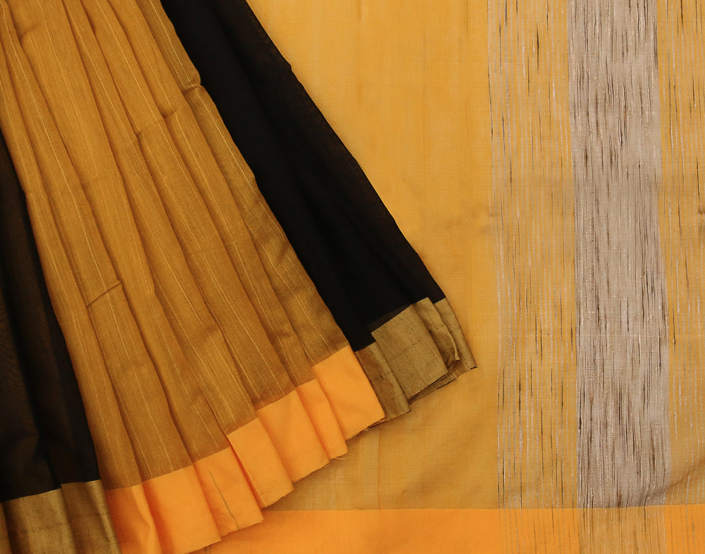 Mustard 'N' Black Handloom Kota Cotton Saree With Tassels