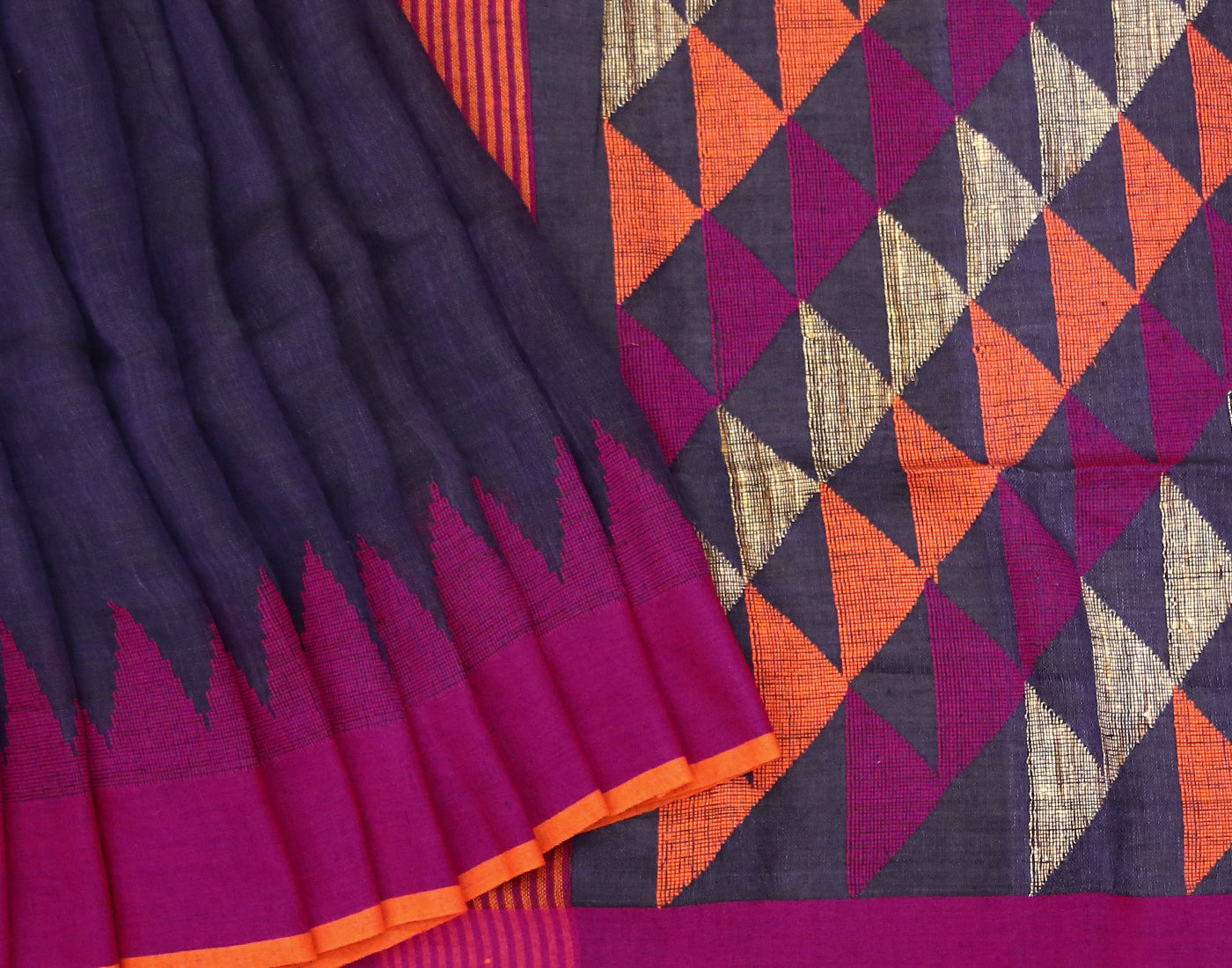 Handloom Blue 'N' Orange Linen Saree With Pompoms