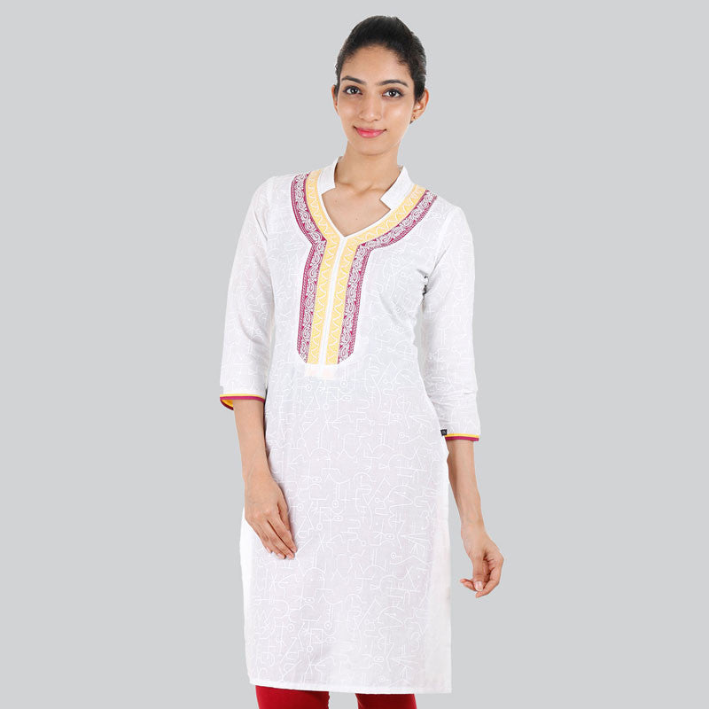 eSTYLe Snow White Printed Kurta In With embeoidered Yoke