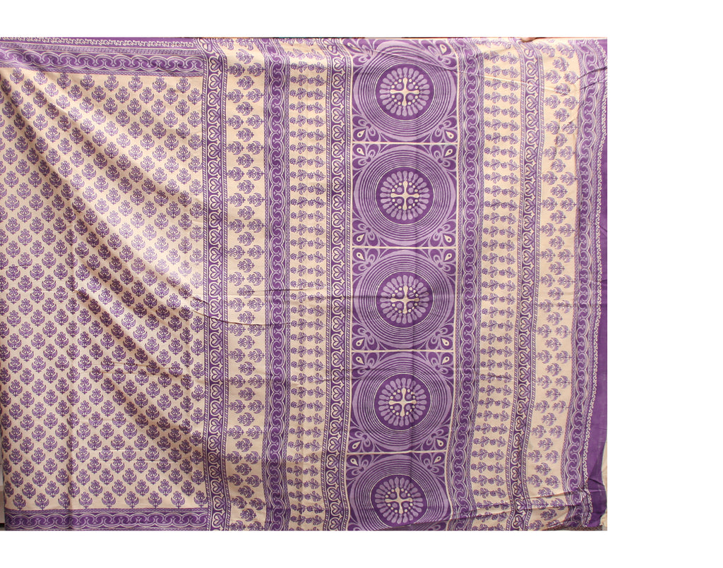 Blue Sanganeri Printed Cottton Saree