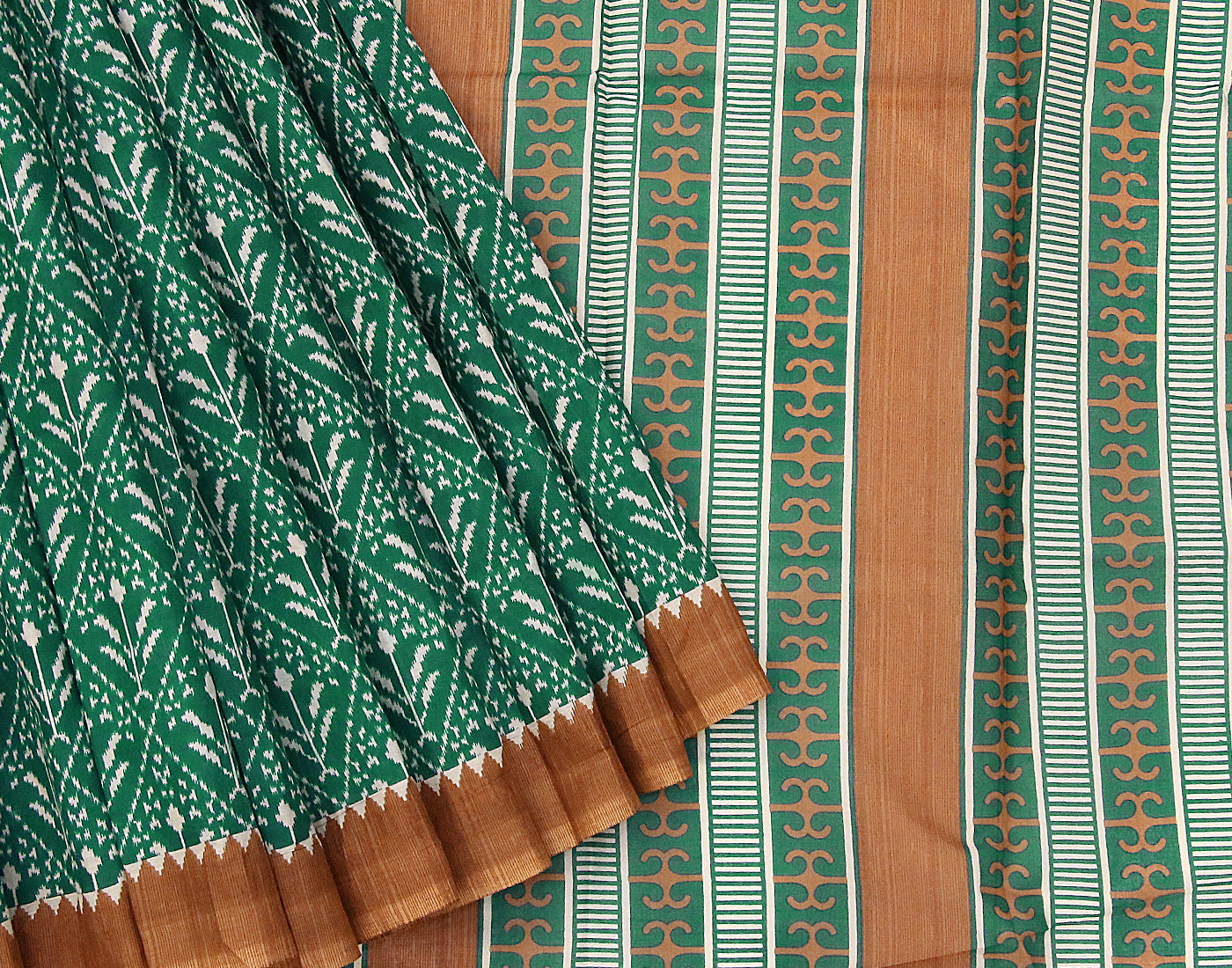 Teal 'N' Brown Sanganeri Printed Cottton Saree