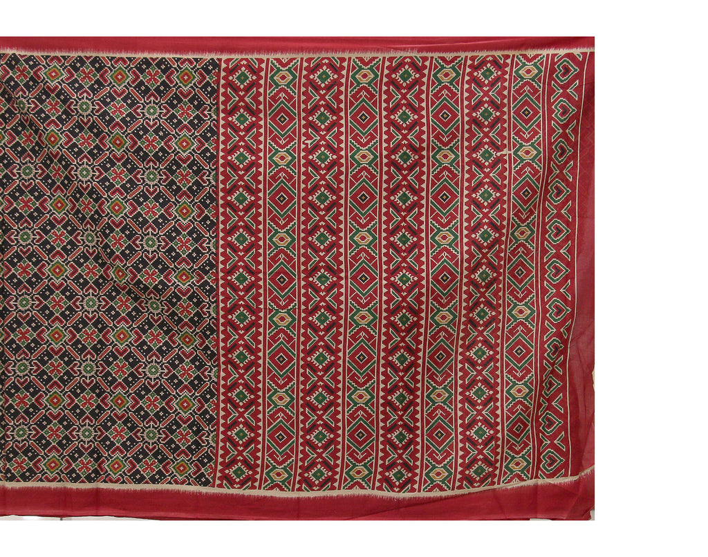 Pirate Black 'N' Red Sanganeri Printed Cottton Saree