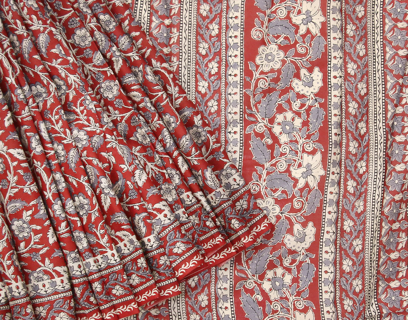 Red Sanganeri Printed Cottton Saree