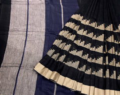Blue 'N' Black Handloom Linen Saree With Contrast Border