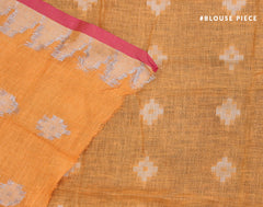 Handloom Orange 'N' Red Linen Jacquard Saree With Fringes
