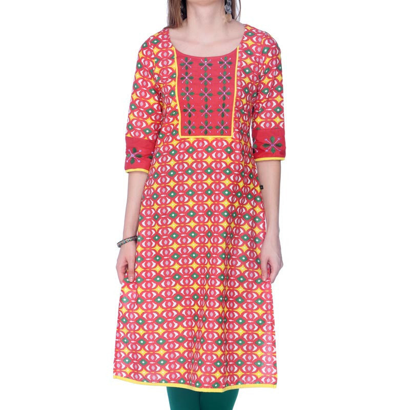 Paprika Red Printed Cotton Kurta From eSTYLe With Embroidered Yoke