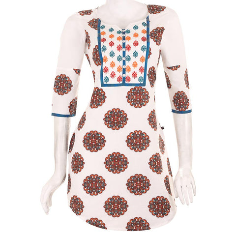Casual Orange Printed Short Kurta With U Cut Hemline