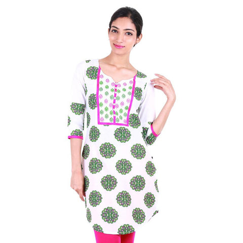 Printed Green Short Kurta With Button Down Yoke