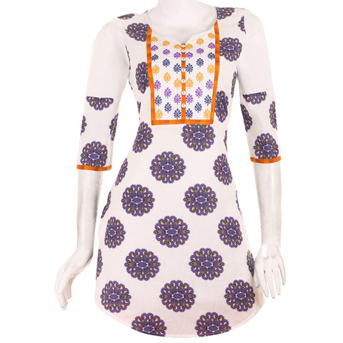 Casual Printed Purple Short Kurta With Embroidered Yoke