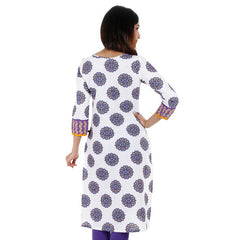 eSTYLe White 'N Purple Printed Kurta With Contrast Piping