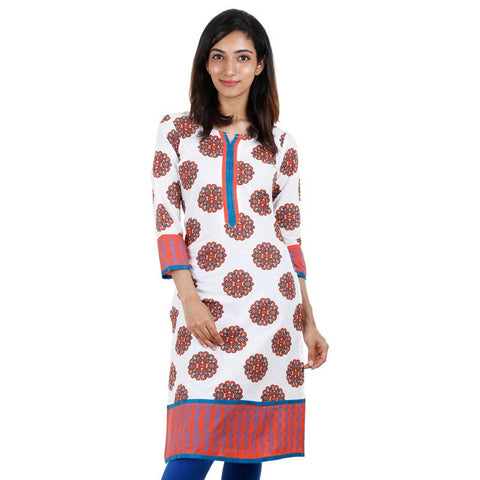 White 'N Orange eSTYLe Printed Kurta With Contrast Piping