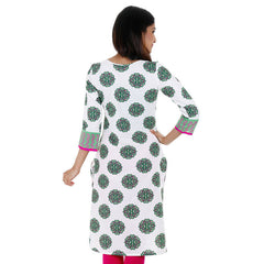 White 'N Green Kurta With Contrast Piping From eSTYLe