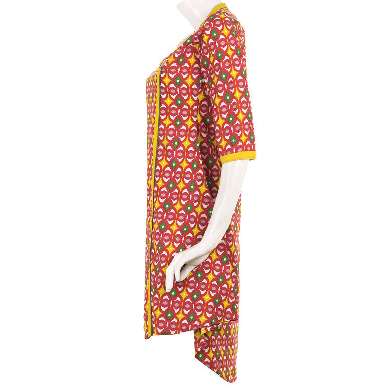 Angarkha Red Printed Cotton Kurta With Chinese Collar From eSTYLe