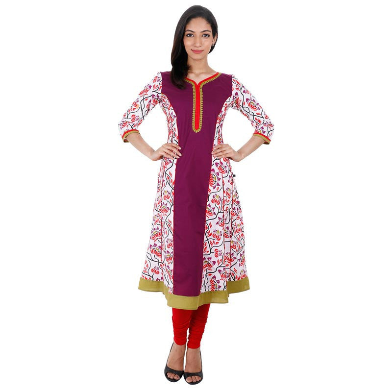eSTYLe Purple Floral Printed Anarkali With Wide Flare