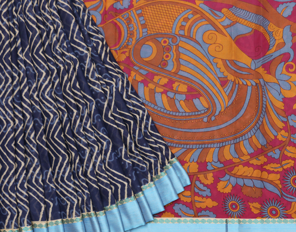 Indigo Printed Chanderi Cotton Saree