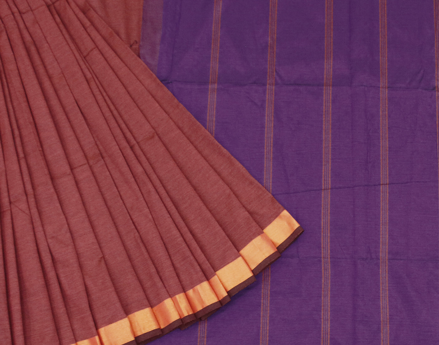 Brick Red Silk Cotton Saree With Fringes