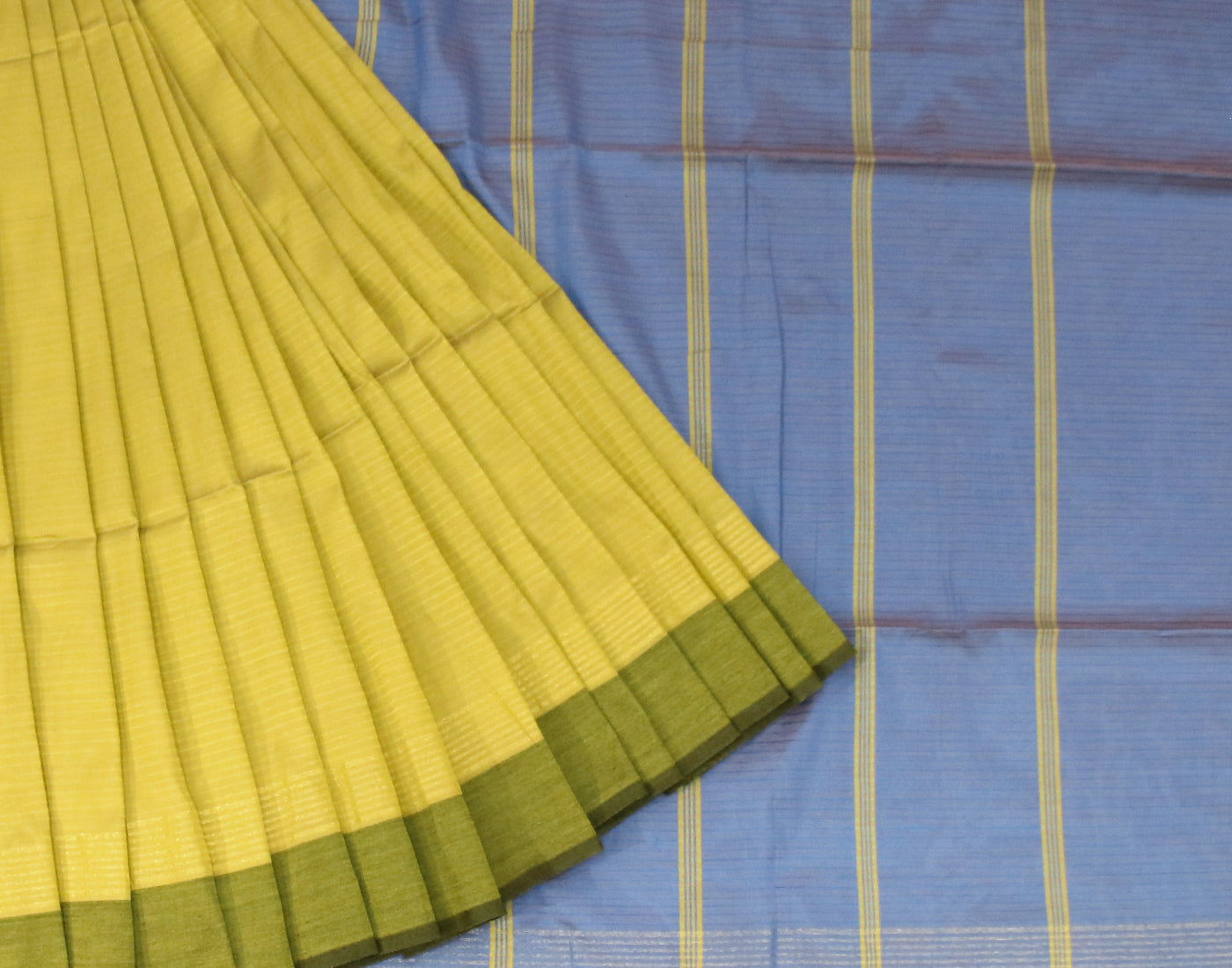 Handloom Green 'N' Blue Silk Cotton Saree With Fringes