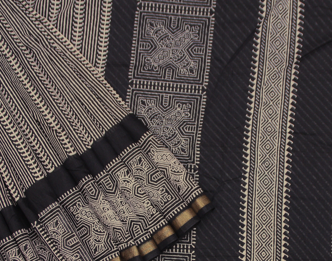 Black Floral Printed Bahar Saree With Golden Zari Border