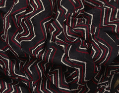 Black 'N' Red Bahar Saree Striped Printed With Golden Zari Border