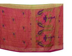 Handloom Pink 'N' Green Linen Saree With Pompoms