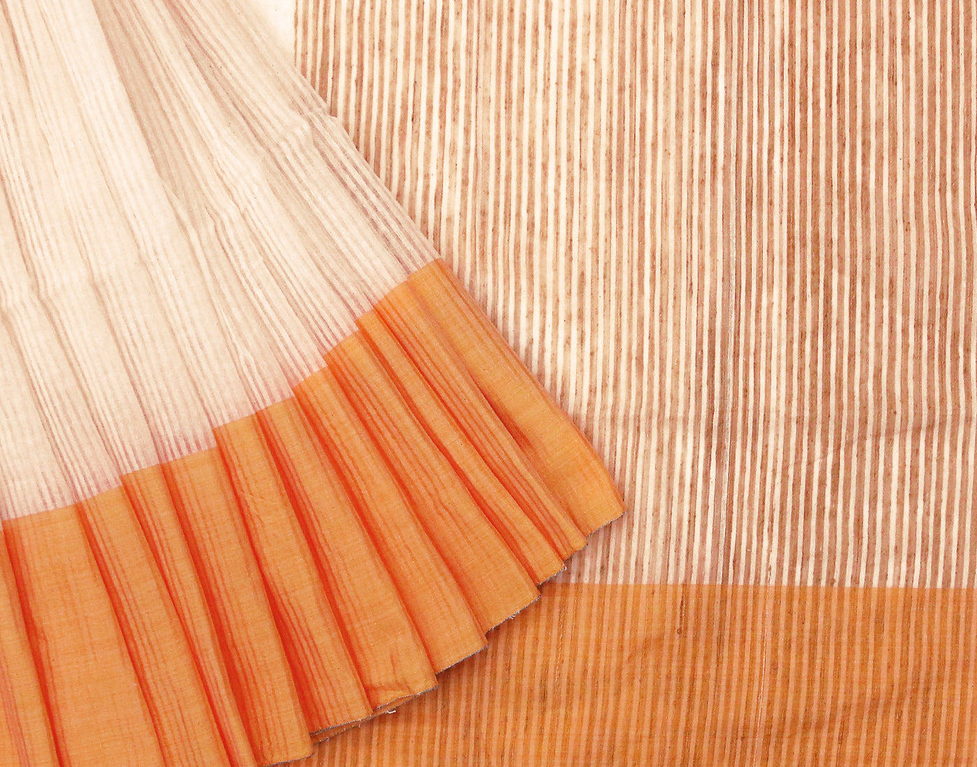 Yellow 'N' White Cotton Striped Saree With Tassels