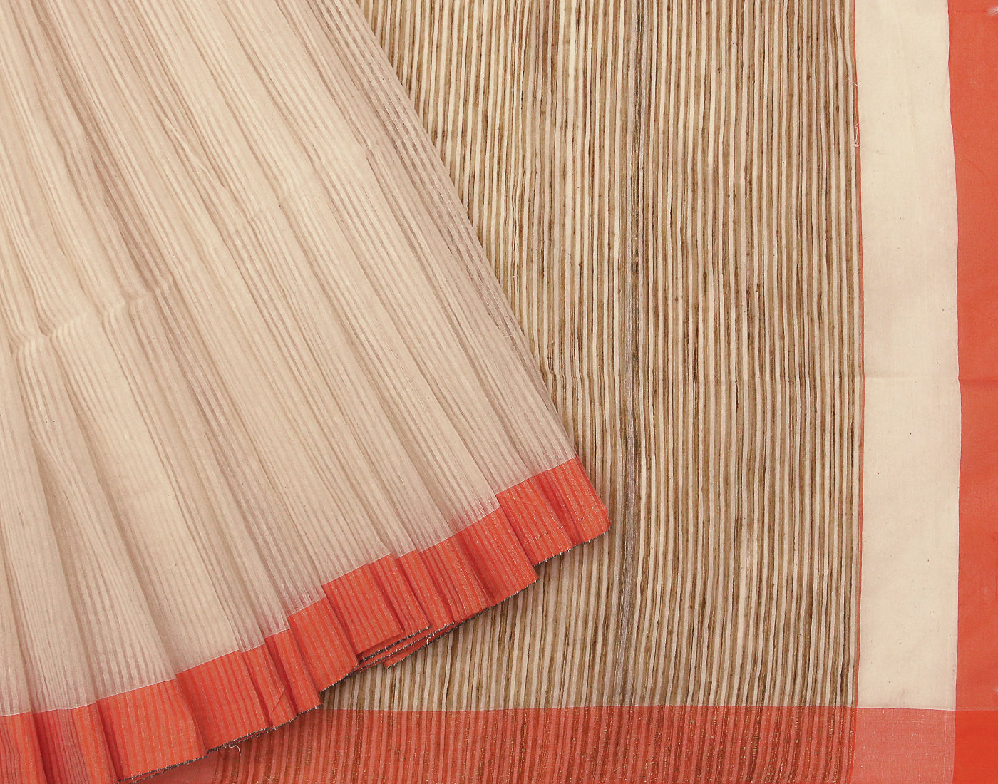 Orange 'N' White Cotton Striped Saree With Tassels