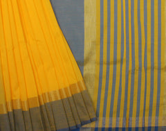 Handloom Yellow 'N' Blue Silk Cotton Saree With Fringes