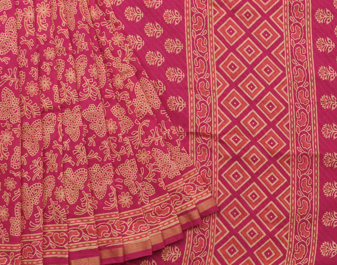 Classic Red Handblock Printed Cotton Saree