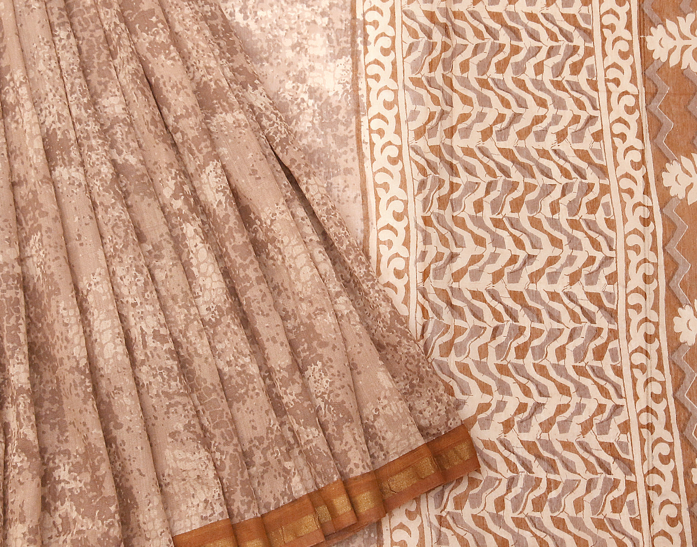 Brown Bahar Saree With Golden Zari Border