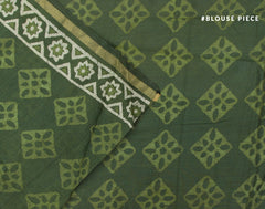 Green Bahar Saree With Golden Zari Border