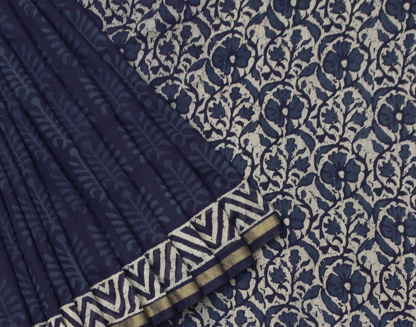 Indigo Floral Printed Bahar Saree With Golden Zari Border