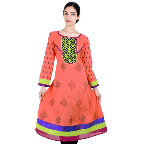 Printed Anarkali Kurta With Wide Flare In Hot Coral Shade