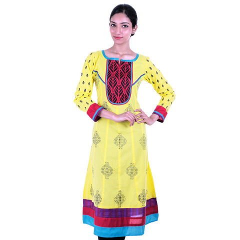 Lime Yellow Printed Anarkali Kurta With Wide Flare