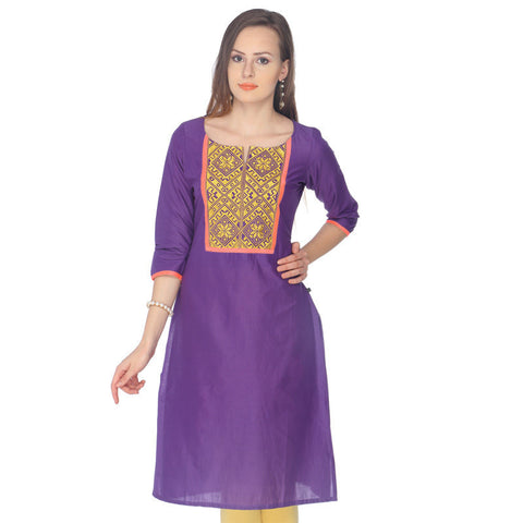 Purple eSTYLe Cotton Kurta With Embroidered Yoke