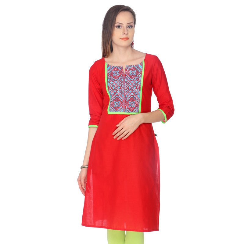 Crimpson Red Cotton Kurta With Embroidered Yoke From eSTYLe
