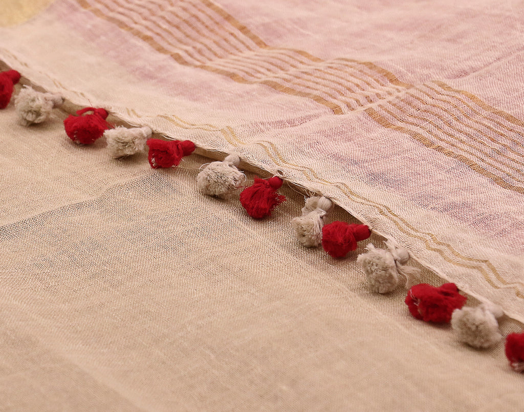 Handloom White 'N' Red Linen Saree With Pompoms